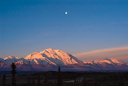 Sun rises on Denali and the Alaska Range as seen from Wonder Lake in Denali National Park and Preserve in Alaska. Also pictured is the setting moon, above Denali. Denali is North America's tallest peak at 20,310 feet and towers over 18,000 feet above the surrounding lowlands.