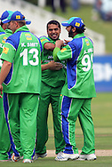 CAPE TOWN, SOUTH AFRICA - 22 February 2008, Yususf Abdullah celebrates the wicket of Herschelle Gibbs during the MTN Domestic Championship match between the Nashua Cape Cobras and the Nashua Dolphins held at Sahara Park, Newlands Stadium in Cape Town, South Africa...Photo by Ron Gaunt/SPORTZPICS