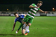 Ben Middleton (Captain) (North Ferriby United) is fouled by Liam Ridehalgh (Tranmere Rovers) during the Vanarama National League match between North Ferriby United and Tranmere Rovers at Eon Visual Media Stadium, North Ferriby, United Kingdom on 21 March 2017. Photo by Mark P Doherty.