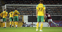 Photo: Paul Thomas.<br /> Burnley v Norwich City. Coca Cola Championship. 23/10/2007.<br /> <br /> Andy Gray (10) of Burnley scores their penalty kick past keeper David Marshall. Norwich players watch.