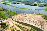 Nederland, Utrecht, Gemeente Rhenen, 26-06-2014. Neder-rijn met Elster Buitenwaarden.<br /> In het kader van het programma Ruimte voor de Rivier is de steenfabriek gesloopt (schoorsteen blijft behouden) en worden de uiterwaarden afgegraven. Rivier de Rijn krijgt hierdoor meer de ruimte en hoogwater kan sneller afgevoerd worden.<br /> Floodplain over Lower Rhine is excavated and former brickworks are demolished. This results in more space for the rover and floods can be drained more quickly.<br /> luchtfoto (toeslag op standaard tarieven);<br /> aerial photo (additional fee required);<br /> copyright foto/photo Siebe Swart.