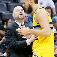 04 March 2016: Denver Nuggets head coach Michael Malone talks to Denver Nuggets center Joffrey Lauvergne (77) during the Brooklyn Nets 121-120 victory over the Denver Nuggets, at the Pepsi Center, Denver, Colorado, USA.