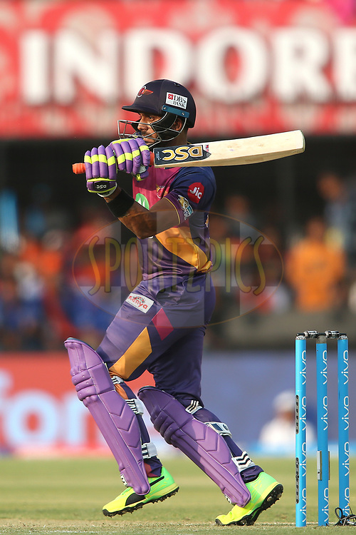 Manoj Tiwary of Rising Pune Supergiant pulls a delivery through the leg side during match 4 of the Vivo 2017 Indian Premier League between the Kings XI Punjab and the Rising Pune Supergiant held at the Holkar Cricket Stadium in Indore, India on the 8th April 2017<br /> <br /> Photo by Shaun Roy - IPL - Sportzpics
