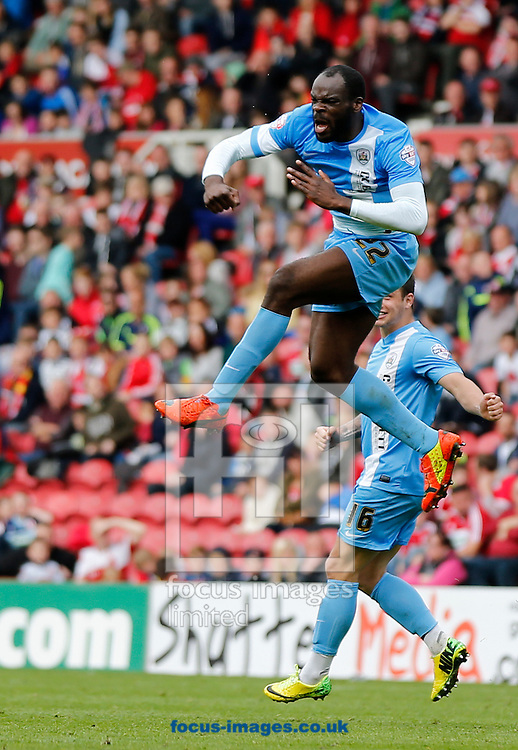Jean-Yves Mvoto of Barnsley celebrates scoring during the Sky Bet Championship match at the Riverside Stadium, Middlesbrough<br /> Picture by Simon Moore/Focus Images Ltd 07807 671782<br /> 26/04/2014