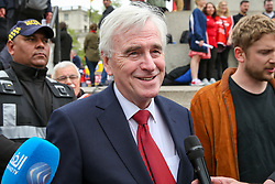 © Licensed to London News Pictures. 01/05/2019. London, UK. John McDonnell, Shadow Chancellor of the Exchequer  at the annual May Day Rally on International Workers' Day in Trafalgar Square, attended by hundreds of demonstrators. Labour Day in some countries and often referred to as May Day, is a celebration of labourers and the working classes that is promoted by the international labour movement which occurs every year on May Day (1 May), an ancient European spring festival. Photo credit: Dinendra Haria/LNP