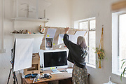 Gateshead, England, UK, January 24 2019 - At Irish artist Claire Morgan's home & studio, next to Newcastle.<br /> In her office.