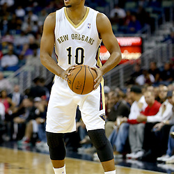 Oct 23, 2013; New Orleans, LA, USA; New Orleans Pelicans shooting guard Eric Gordon (10) against the Miami Heat during the first half of a preseason game at New Orleans Arena. Mandatory Credit: Derick E. Hingle-USA TODAY Sports