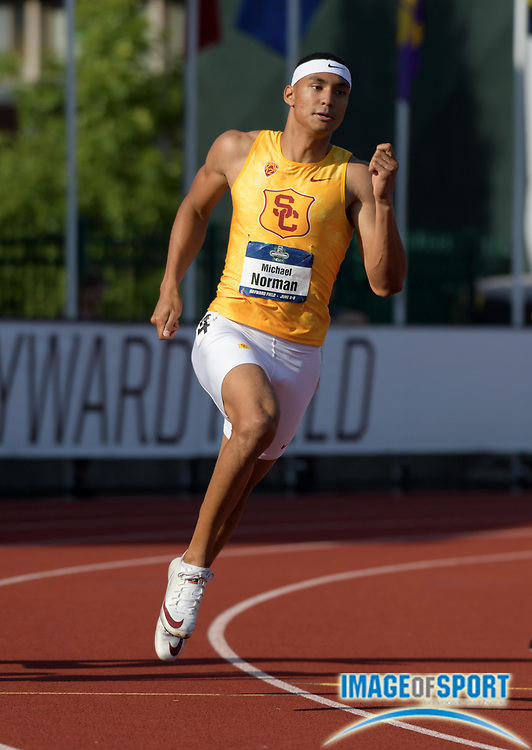 Jun 6, 2018; Eugene, OR, USA; Michael Norman of Southern California wins 400m heat in 44.66 for the top time during the NCAA Track and Field championships at Hayward Field.