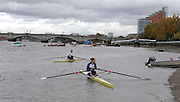 London, United Kingdom.  right,  Sophie HOSKING and Jessica EDDIE.  leaving  Putney hard for the Wingfield Sculls,  Raced over the Championship Course,  Putney to Mortlake, Thursday  05/11/2009 [Mandatory Credit Peter Spurrier/ Intersport Images]
