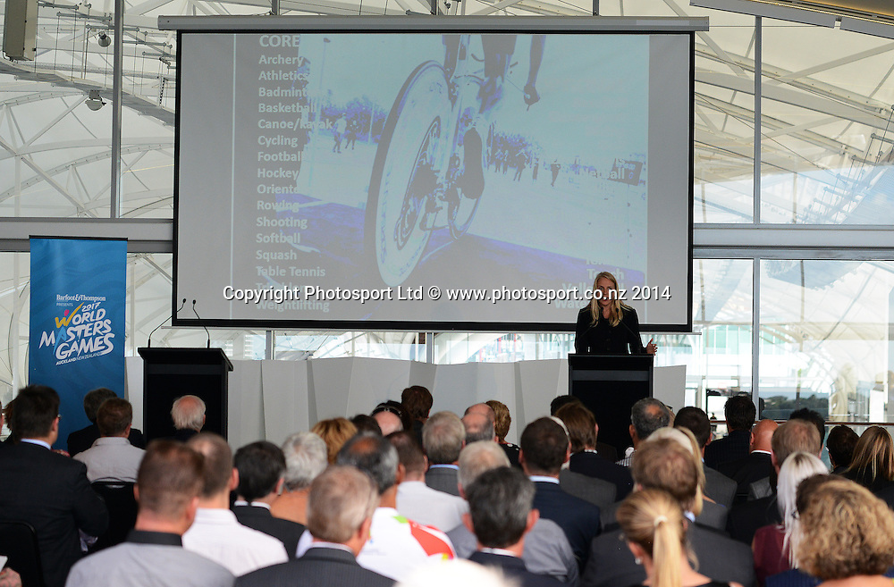 Function to announce Barfoot and Thompson as the main naming partner and stakeholder to the World Masters Games 2017 to be held in Auckland. The Cloud, Queens Wharf, Auckland. Tuesday 25 March 2014. Photo: Andrew Cornaga/www.photosport.co.nz