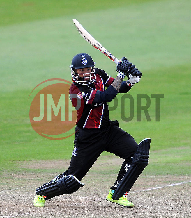 Somerset's Peter Trego drives the ball - Photo mandatory by-line: Harry Trump/JMP - Mobile: 07966 386802 - 29/07/15 - SPORT - CRICKET - Somerset v Durham - Royal London One Day Cup - The County Ground, Taunton, England.