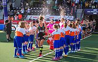 AMSTELVEEN -   line up Duitsland met voorop Janne Müller-Wieland (Ger)    voor de halve finale  Nederland-Duitsland van de Pro League hockeywedstrijd dames. COPYRIGHT KOEN SUYK