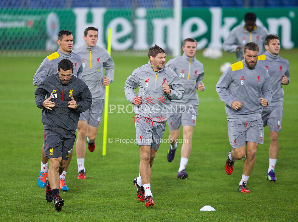 BASEL, SWITZERLAND - Tuesday, September 30, 2014: Liverpool's captain Steven Gerrard during a training session at the St. Jakob Stadium ahead of the UEFA Champions League Group B match against FC Basel. (Pic by David Rawcliffe/Propaganda)