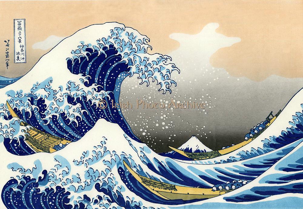 Hokusai (1760-1849) Japanese artist. 'The Wave'