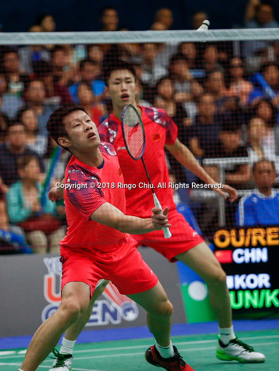 Ren Xiangyu and Ou Xuanyi of China, compete against Jung Jae Wook and Kim Jae Hwan of Korea during the men's doubles semi final match at the U.S. Open Badminton Championships on Saturday, June 16, 2018 in Fullerton, California.  Ren and Ou won 2-0 advance to final. (Photo by Ringo Chiu)<br /> <br /> Usage Notes: This content is intended for editorial use only. For other uses, additional clearances may be required.