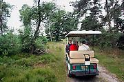Nederland, Nijverdal, 11-7-2007..Met de Heideslak, een elektrisch wagentje kunnen ouderen en mensen die slecht ter been zijn maar toch een dagje uit in de natuur willen, een ritje maken door de bossen van de Sallandse heuvelrug. Een vrijwilliger van staatsbosbeheer geeft uitleg. ..Foto: Flip Franssen/Hollandse Hoogte