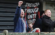 A Palace fan showing his support during the Women's FA Cup match between Charlton Athletic WFC and Crystal Palace LFC at Sporting Club Thamesmead, Thamesmead, United Kingdom on 8 March 2015. Photo by Michael Hulf.
