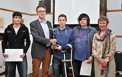 Pictured at the opening of Heinrich Boll memorial weekend in Achill on friday where the presentation of prizes in the Essay competition for secondary School students took place, from left Eoghan O'Meara-Kilbane 2nd Place, Derek Scally (Berlin Correspondent Irish Times) presenting 1st place to Rory O'Sullivan, Liam O'Riordan 3rd Place alongside Shelia McHugh Chairperson Heinrich Boll Committee.<br /> Pic Conor McKeown