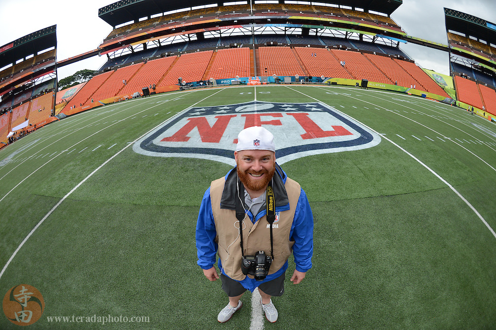 January 26, 2014; Honolulu, HI, USA; Raidersfans.net photographer Bob Carr before the 2014 Pro Bowl at Aloha Stadium.