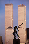 The Katy? Memorial created by Polish-American sculptor Andrzej Pitynski,  Jersey City, NJ, and Twin Towers, World Trade Center, Manhattan, New York City, NY