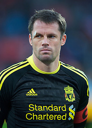 UTRECHT, THE NETHERLANDS - Thursday, September 30, 2010: Liverpool's Jamie Carragher with an eye injury before the UEFA Europa League Group K match against FC Utrecht at the Stadion Galgenwaard. (Photo by David Rawcliffe/Propaganda)