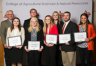 Advance Food Company Endowed Scholarship recipient, Charley Rayfield, Clay Maynard, jacob green, kylie brunker, abigail bechtold, sabra barnett, jennifer apple.