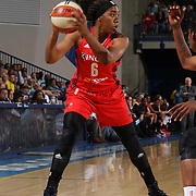 Washington Mystics Forward Kayla Thornton (6) attempts to pass the ball in the second half of an WNBA preseason basketball game between the Chicago Sky and the Washington Mystics Tuesday, May. 13, 2014 at The Bob Carpenter Sports Convocation Center in Newark, DEL