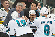 DALLAS, TX - OCTOBER 17:  Head coach Todd McLellan of the San Jose Sharks has words with his team against the Dallas Stars on October 17, 2013 at the American Airlines Center in Dallas, Texas.  (Photo by Cooper Neill/Getty Images) *** Local Caption *** Todd McLellan
