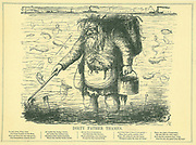 Dirty Father Thames': More an open sewer than a river, the disgusting state of the Thames in London in 1849, the year of the Great Stink when Parliament was suspended because of the smell. Cartoon from 'Punch', London, 1849.