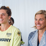 August 24, 2016, New Haven, Connecticut: <br /> Andrea Petkovic of Germany and Tournament Director Anne Worcester attend the Mayor's Women's Legislators Luncheon during Day 6 of the 2016 Connecticut Open at the Yale University Tennis Center on Wednesday, August  24, 2016 in New Haven, Connecticut. <br /> (Photo by Billie Weiss/Connecticut Open)