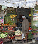 Street shop with vegetables in Chak Jhalar, Rajasthan, India.
