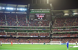 MELBOURNE, AUSTRALIA - Wednesday, July 24, 2013: The official attendance of 95,446 is announced as Liverpool take on Melbourne Victory during a preseason friendly match at the Melbourne Cricket Ground. (Pic by David Rawcliffe/Propaganda)