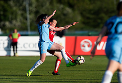 Meg Campbell of Manchester City Women competes for the ball with  Frankie Brown of Bristol City Women  - Mandatory by-line: Paul Knight/JMP - 09/05/2017 - FOOTBALL - Stoke Gifford Stadium - Bristol, England - Bristol City Women v Manchester City Women - FA Women's Super League Spring Series