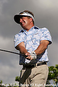 America's Fred Funk tees off during a practice round prior to The 2005 Sony Open In Hawaii. The event was held at The Waialae Country Club in Honolulu.