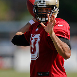 Jul 29, 2013; Metairie, LA, USA; New Orleans Saints quarterback Seneca Wallace (10) during a morning training camp practice at the team facility.  Mandatory Credit: Derick E. Hingle-USA TODAY Sports