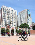 A boy cycles at Drill Hall in downtown Johannesburg on 23 October 2009