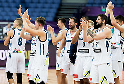Players of Slovenia celebrate after winning during basketball match between National Teams of Slovenia and Greece at Day 4 of the FIBA EuroBasket 2017 at Hartwall Arena in Helsinki, Finland on September 3, 2017. Photo by Vid Ponikvar / Sportida