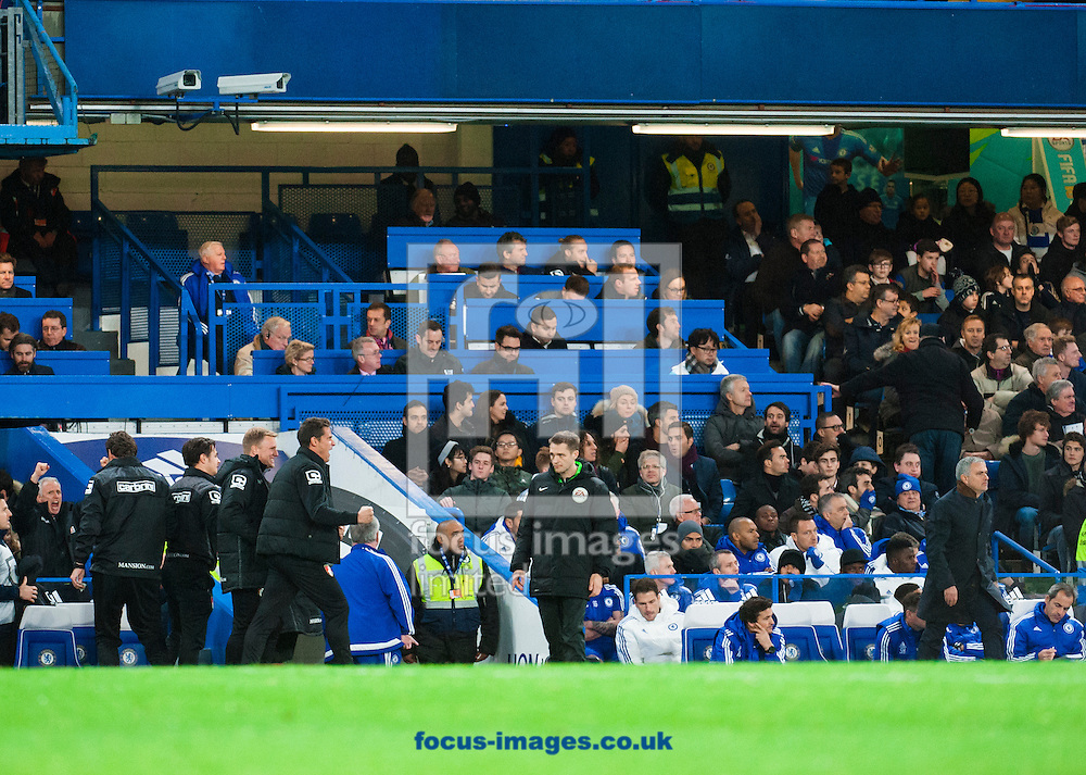 The benches react as Glenn Murray scores for AFC Bournemouth after a misdirected punch from Thibaut Courtois of Chelsea  during the Barclays Premier League match at Stamford Bridge, London<br /> Picture by Jack Megaw/Focus Images Ltd +44 7481 764811<br /> 05/12/2015