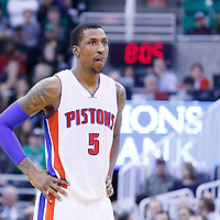 25 January 2016: Detroit Pistons guard Kentavious Caldwell-Pope (5) rests during the Detroit Pistons 95-92 victory over the Utah Jazz, at the Vivint Smart Home Arena, Salt Lake City, Utah, USA.