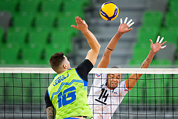 30-12-2019 SLO: Slovenia - Netherlands, Ljubljana<br /> Klemen Cebulj of Slovenia and Nimir Abdel-Aziz of the Netherlands  during friendly volleyball match between National Men teams of Slovenia and Netherlands