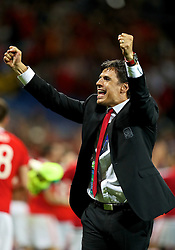 TOULOUSE, FRANCE - Monday, June 20, 2016: Wales' manager Chris Coleman celebrates the 3-0 victory over Russia and reaching the knock-out stage during the final Group B UEFA Euro 2016 Championship match at Stadium de Toulouse. (Pic by David Rawcliffe/Propaganda)