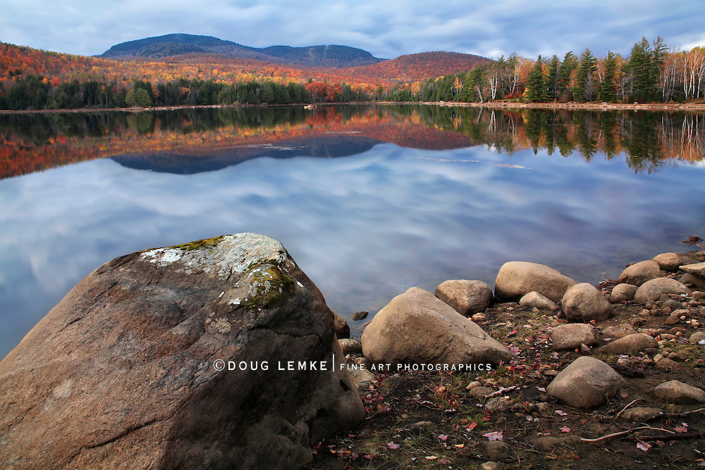 A Colorful And Rainy Autumn Evening At Loon Lake, Adirondack Mountains, New York