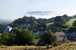 © Licensed to London News Pictures. 19/09/2019. Builth Wells, Powys, UK. Mist hangs over the small Welsh market town of Builth Wells in Powys, after a cold night with temperatures dropping to around 6 deg C. Photo credit: Graham M. Lawrence/LNP