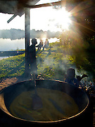 Along Colombia's Amazon River frontier, Indigenous communities live a traditional and peaceful lifestyle. They operate in a mostly cashless society but trade fish, fruits, and and harina flour for money to buy two key essentials from the outside world--salt and gasoline to power a generator. Communidad Tarapoto - Colombian Amazon