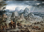 Battle of Lake Trasimene' , Italy. Oil on canvas. Leonard Thiry (c1500-c1550) Flemish artist. Battle between Rome and Carthage, 217 BC, in Second Punic War.  Carthaginians under Hannibal victorius. Roman centre forced into the lake.