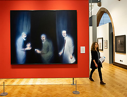Painting Three Oncologists by Ken Currie at Scottish National Portrait Gallery in Edinburgh, Scotland, UK