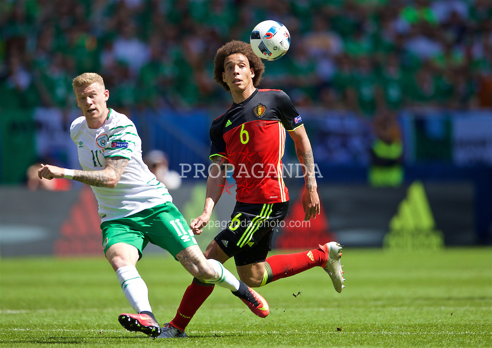 BORDEAUX, FRANCE - Saturday, June 18, 2016: Belgium's Axel Witsel in action against the Republic of Ireland's James McClean during the UEFA Euro 2016 Championship Group E match at Stade de Bordeaux. (Pic by Paul Greenwood/Propaganda)