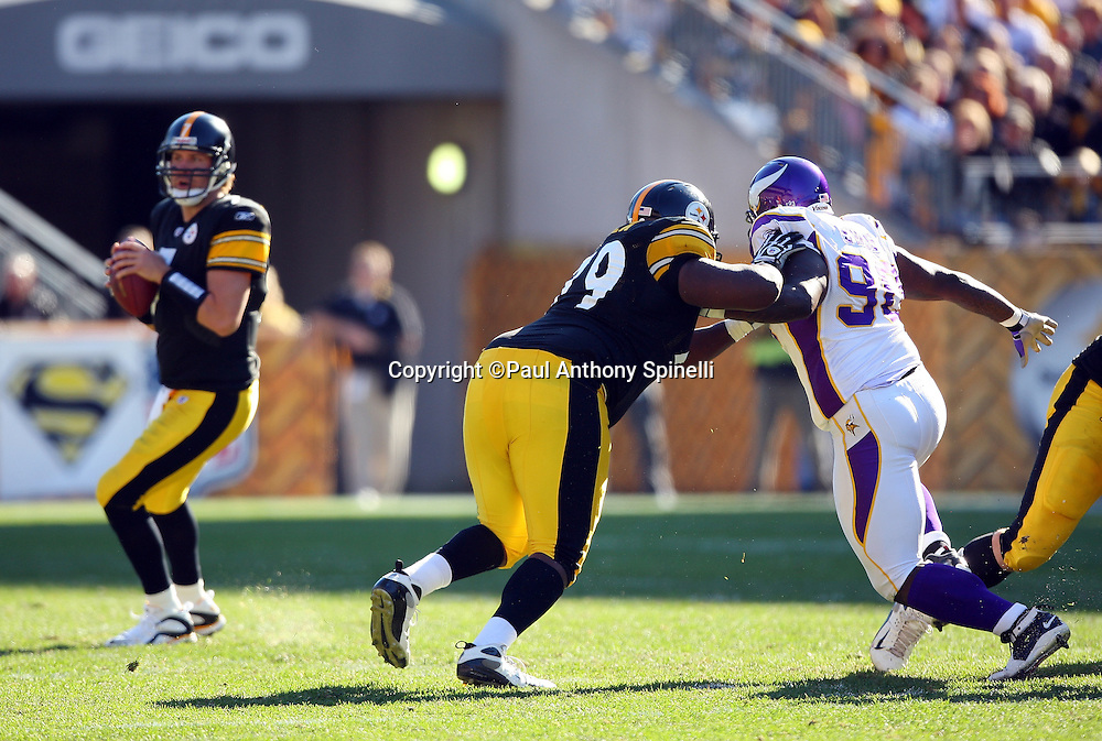 Pittsburgh Steelers guard Trai Essex (79) pass blocks Minnesota Vikings defensive tackle Fred Evans (90) during the NFL football game against the Minnesota Vikings, October 25, 2009 in Pittsburgh, Pennsylvania. The Steelers won the game 27-17. (©Paul Anthony Spinelli)