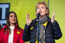 "© Licensed to London News Pictures. 23/03/2019. London, UK. Independent Group MP Anna Soubry (R) speaks in Parliament Square after an estimated one million people marched through central London to demand that government allow a ""People's Vote"" on the Brexit deal. Several key votes will be held in Parliament in the coming week. Photo credit: Rob Pinney/LNP"