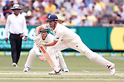 Alastair Cook plays a defensive stroke during day three of the Australia v England fourth test at the Melbourne Cricket Ground, Melbourne, Australia on 28 December 2017. Photo by Mark  Witte.
